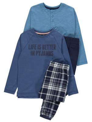 Navy Slogan Pyjamas 2 Pack