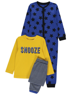 Blue Star Print Pyjamas and Onesie 2 Pack