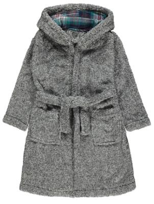 Grey Tonal Fleece Dressing Gown