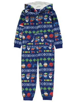 Navy Fleece Fairisle Christmas Onesie