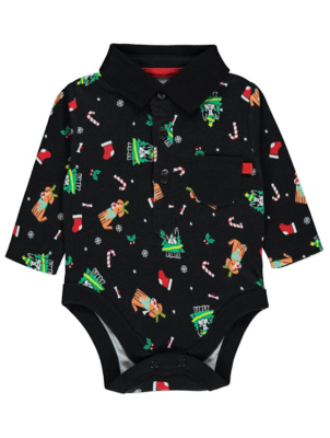 Black Printed Christmas Bodysuit