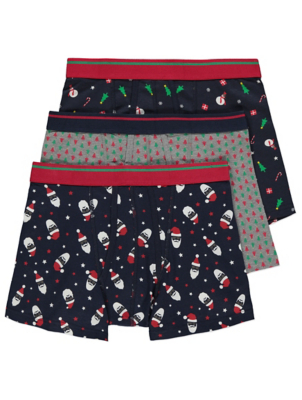 Christmas Printed A-Front Fly Trunks 3 Pack