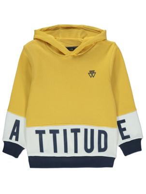 Yellow Contrast Stripe Slogan Hoodie