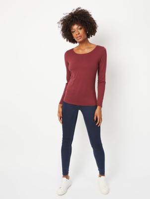 Burgundy Long Sleeve Scoop Neck Top