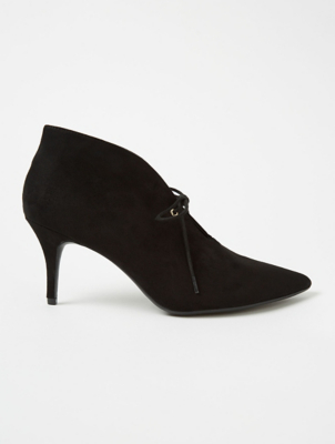 Black Suede Effect Split Front Stiletto Ankle Boots
