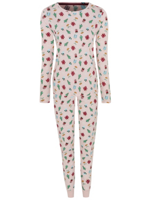 Pink Printed Adult Family Christmas Pyjamas