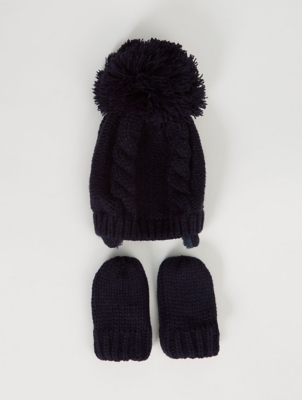 Navy Ear Flap Bobble Hat and Mittens Set