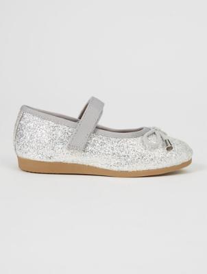 Silver Glitter 1 Strap Ballet Shoes