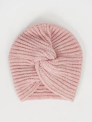 Pink Shimmering Rib Knit Turban