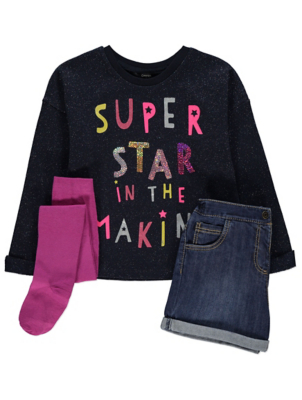 Navy Shimmering Sweatshirt Shorts and Tights Outfit