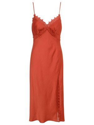 Burnt Orange Lace Trim Satin Chemise Nightdress