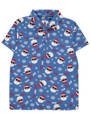 Blue Santa Claus Print Christmas Polo Shirt