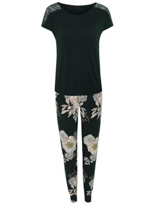 Green Short Sleeve Garden Floral Pyjamas