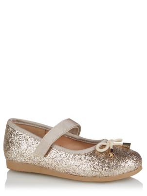 Gold Glitter 1 Strap Ballet Shoes