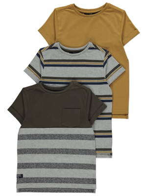 Grey Striped T-Shirts 3 Pack