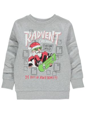 Grey Advent Santa Christmas Sweatshirt