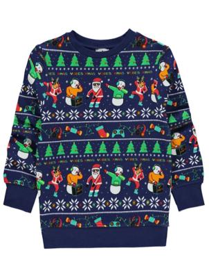 Navy Santa Print Christmas Sweatshirt