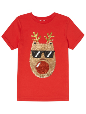 Red Reindeer Swipe Sequin Christmas T-Shirt