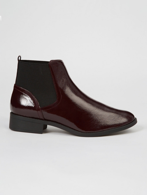Burgundy Patent Chelsea Boots