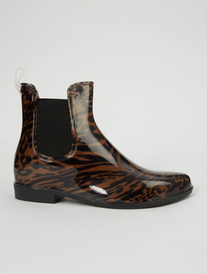Brown Leopard Print Short Wellington Boots
