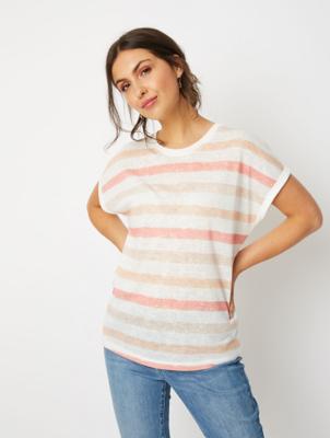 Pink Striped Linen Look Short Sleeve Top