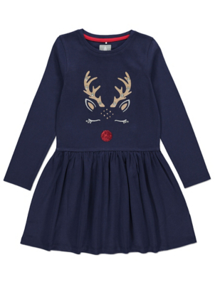 Navy Rudolph Embellished Christmas Dress