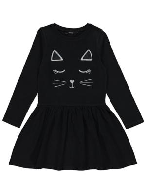 Black Cat Face Jersey Dress