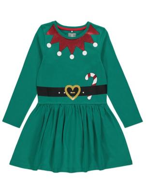Green Elf Jersey Christmas Dress