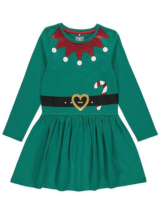 Christmas Green Dress.Green Elf Jersey Mini Me Christmas Dress
