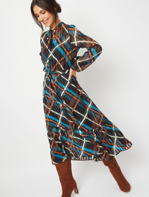 Black Checked Layered High Neck Midi Dress