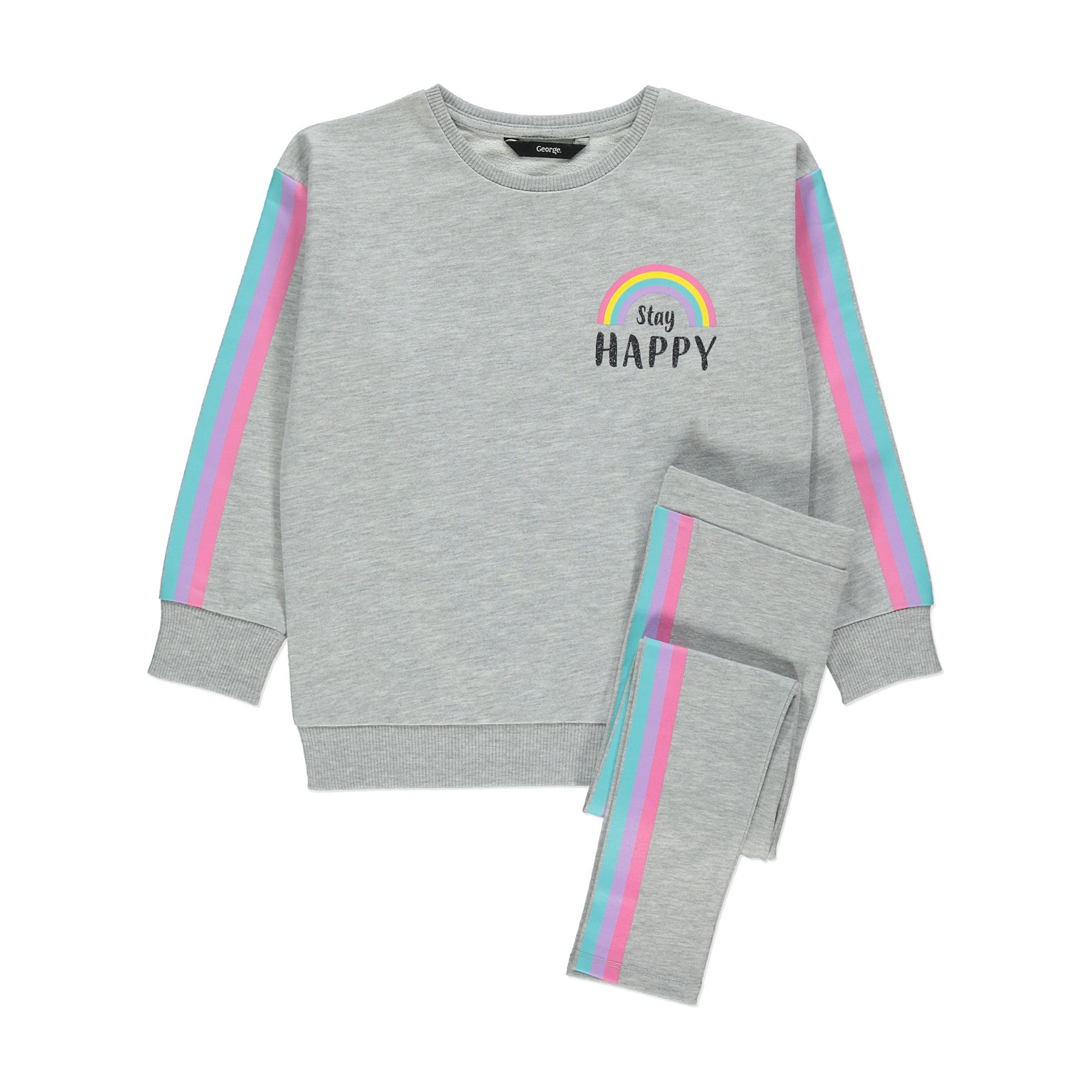 Grey Rainbow Sweatshirt and Leggings Outfit