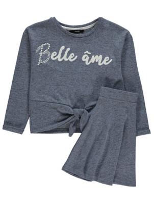 Blue Belle Âme Slogan Sweatshirt and Skirt Outfit