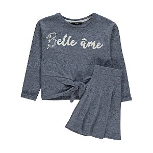 Blue Belle Âme Slogan Sweatshirt and Skirt Outfit
