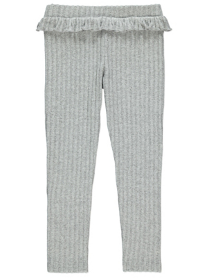 Grey Ribbed Knitted Joggers