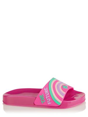 Pink Rainbow Slogan Pool Sliders