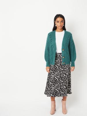 Zebra Print Button Maxi Skirt