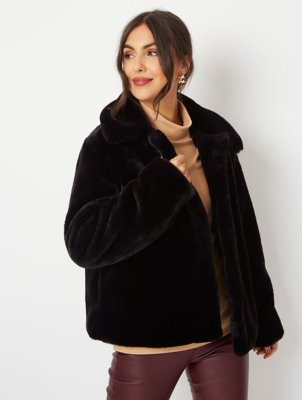 Black Faux Fur Short Jacket