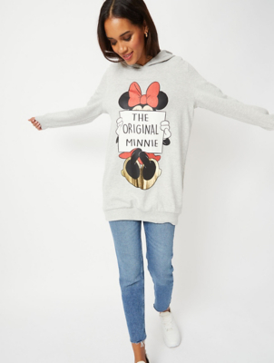 Disney Minnie Mouse Grey Slogan Longline Hoodie