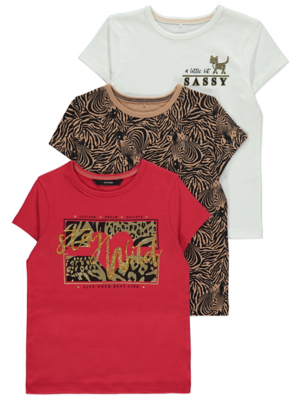 Animal Print Sassy Slogan T-Shirts 3 Pack