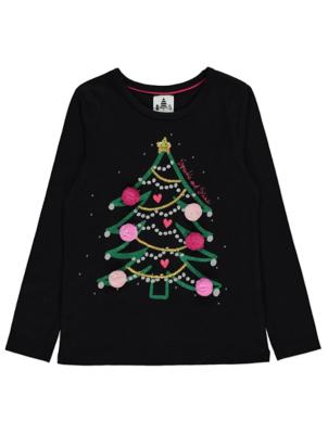Black Pom Pom Tree Christmas Top