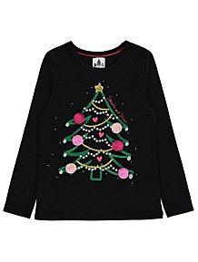 Christmas Top.Tops T Shirts Girls 4 14 Years Kids George At Asda
