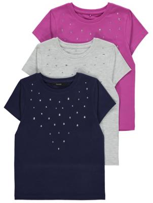 Pink Embellished T-Shirts 3 Pack