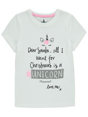 White Dear Santa Slogan Christmas T-Shirt