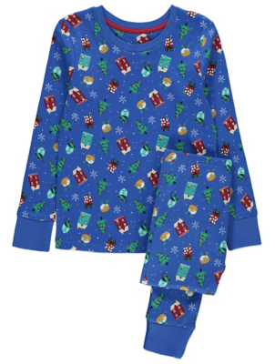 Blue Printed Family Christmas Pyjamas