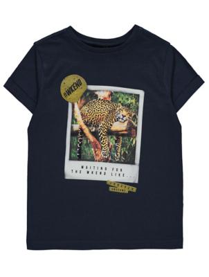 Navy Leopard Print Short Sleeve T-Shirt