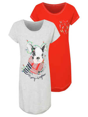 Red Dog Print Christmas Nightdresses 2 Pack