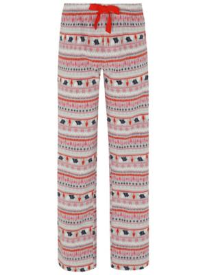 Grey Fleece Fair Isle Christmas Pyjama Bottoms