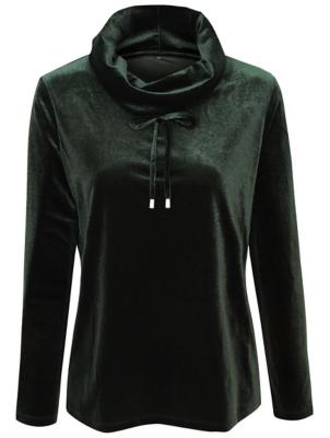Dark Green Velour Cowl Neck Loungewear Top