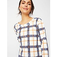 White Check ¾ Sleeve Top by Asda
