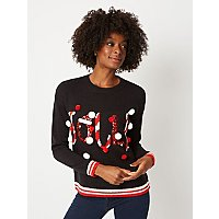 Black Jolly Slogan Bell Christmas Jumper by Asda